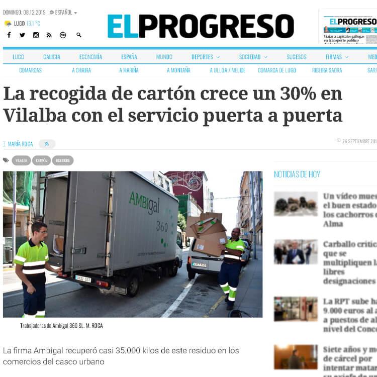 Aparición en prensa. La recogida de cartón crece un 30% en Vilalba con el servicio puerta a puerta.